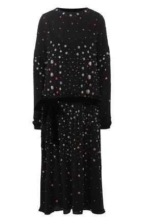 Шелковое платье-миди с декоративной отделкой и поясом | Фото №1