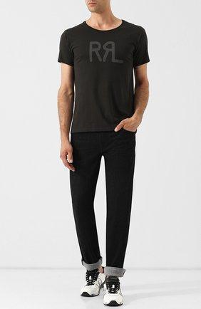 Хлопковая футболка с принтом RRL темно-серая | Фото №1