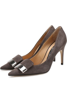 Замшевые туфли на шпильке Sergio Rossi серые   Фото №1