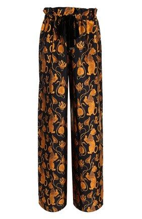 Шелковые брюки с принтом Mother Of Pearl золотые | Фото №1
