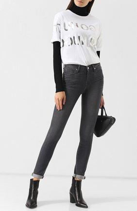 Женские джинсы прямого кроя с потертостями PAIGE серого цвета, арт. 1563743-6077 | Фото 2