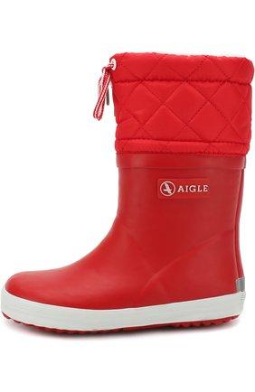Детские сапоги резиновые AIGLE красного цвета, арт. 245383/GIB0ULEE | Фото 2