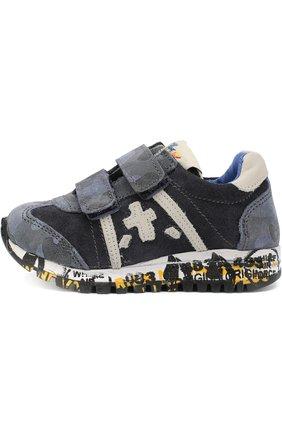Детские замшевые кроссовки с застежками велькро Premiata will be синего цвета | Фото №1