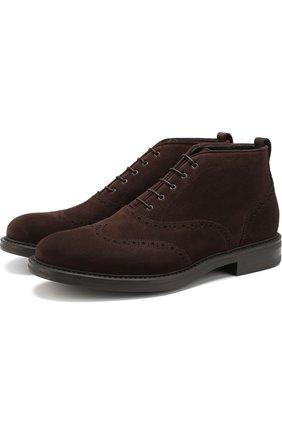 Кожаные ботинки на шнуровке W.Gibbs темно-коричневые | Фото №1