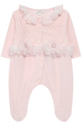 Хлопковый комбинезон с оборками Aletta розового цвета   Фото №1