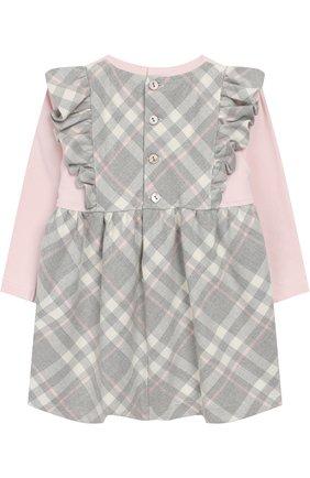 Хлопковое платье с оборками и бантами Aletta серого цвета   Фото №1