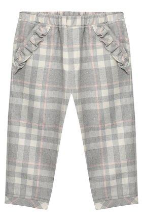 Хлопковые брюки с эластичным поясом Aletta серого цвета   Фото №1