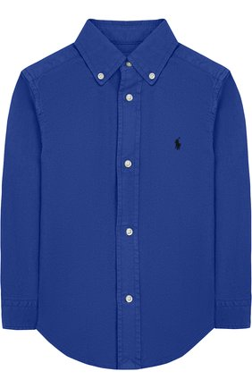 Детская хлопковая рубашка с воротником button down POLO RALPH LAUREN синего цвета, арт. 321702884 | Фото 1