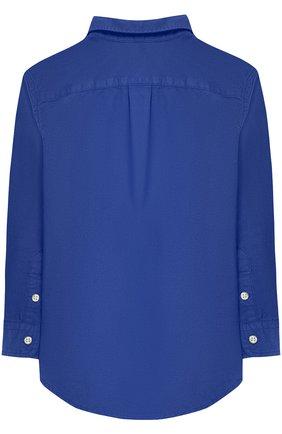 Детская хлопковая рубашка с воротником button down POLO RALPH LAUREN синего цвета, арт. 321702884 | Фото 2
