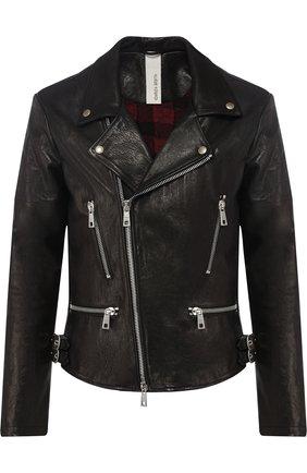 Кожаная куртка на косой молнии Giorgio Brato черная | Фото №1