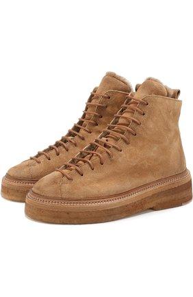 Замшевые ботинки с внутренней отделкой из овчины Marsell коричневые | Фото №1