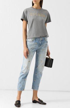 Укороченные джинсы с декоративной отделкой Escada Sport светло-голубые | Фото №1