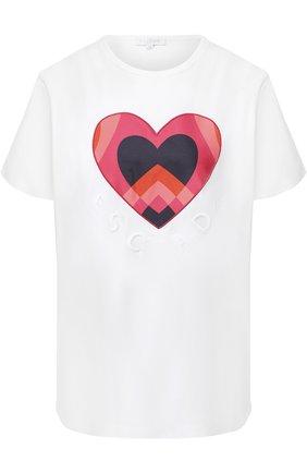 Хлопковая футболка с принтом Escada Sport белая | Фото №1