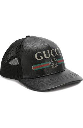 Кожаная кепка с логотипом бренда | Фото №1