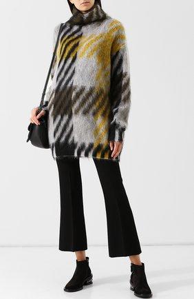 Удлиненный пуловер с воротником-стойкой BOSS серый | Фото №1