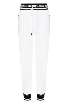 Женские хлопковые джоггеры с контрастной отделкой и логотипом бренда DOLCE & GABBANA белого цвета, арт. FTA7RT/FU7DU | Фото 1