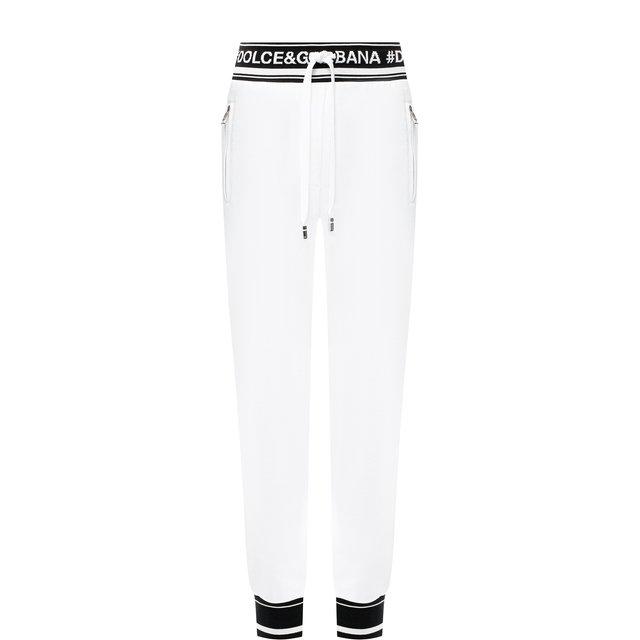 Хлопковые джоггеры с контрастной отделкой и логотипом бренда Dolce & Gabbana