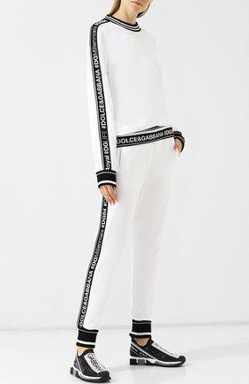 Женские хлопковые джоггеры с контрастной отделкой и логотипом бренда DOLCE & GABBANA белого цвета, арт. FTA7RT/FU7DU | Фото 2