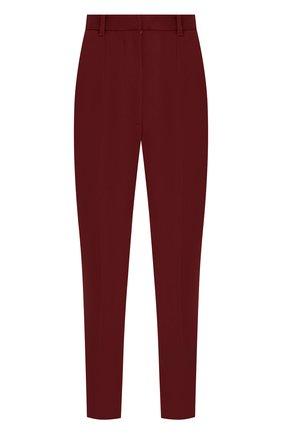 Укороченные брюки из смеси шерсти и шелка Alexander McQueen бордовые   Фото №1