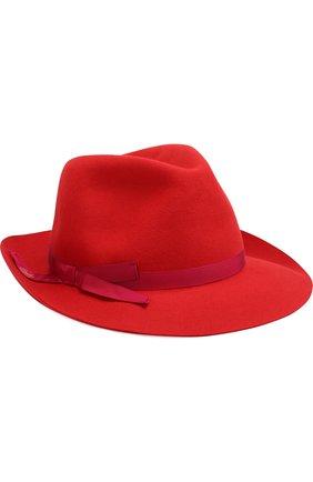 Фетровая шляпа с лентой Borsalino красного цвета | Фото №1