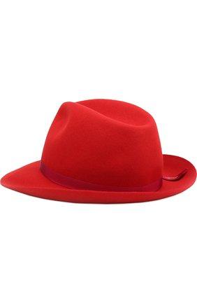 Фетровая шляпа с лентой Borsalino красного цвета | Фото №2