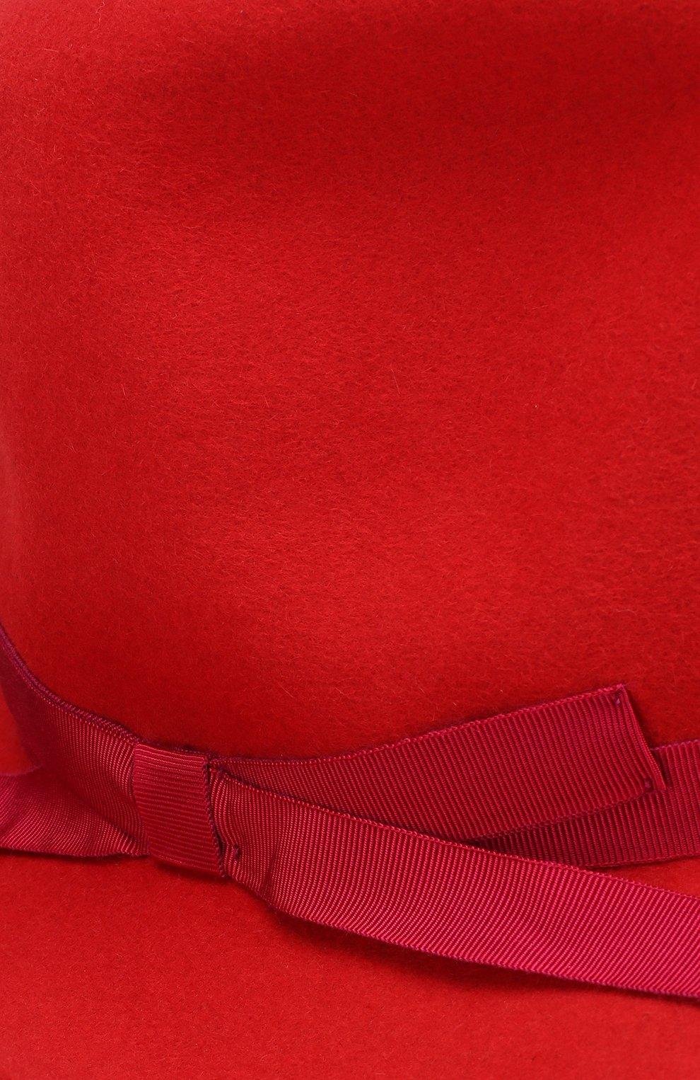 Фетровая шляпа с лентой Borsalino красного цвета | Фото №3