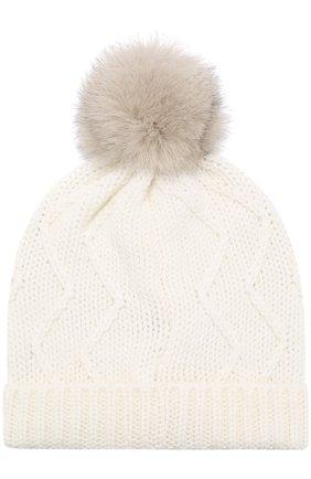 Шерстяная шапка фактурной вязки с помпоном Woolrich белого цвета | Фото №2