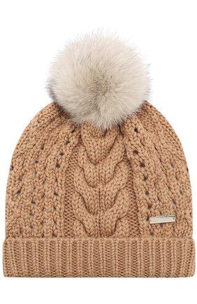 Шерстяная шапка фактурной вязки с помпоном | Фото №1