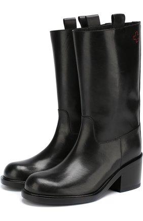 Кожаные сапоги на массивном каблуке A.F.Vandevorst черные | Фото №1