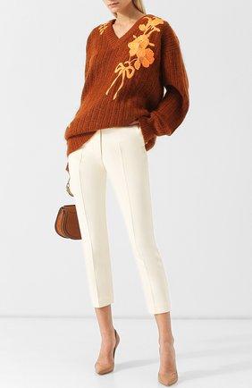 Шерстяной пуловер с декоративной вышивкой Christopher Kane оранжевый | Фото №1