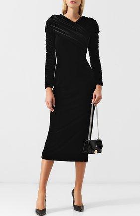 Бархатное платье-миди с драпировкой Christopher Kane черное | Фото №1