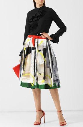 Шелковая юбка-миди с принтом sara roka разноцветная | Фото №1