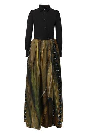 Шелковое платье-макси с принтом sara roka разноцветное | Фото №1