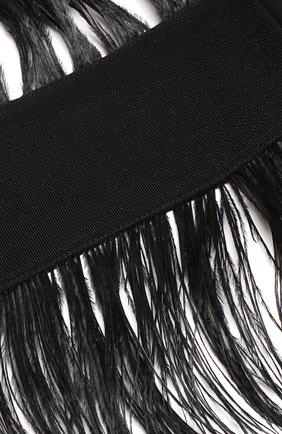 Ремень из смеси вискозы и хлопка с перьевой отделкой sara roka черный | Фото №1
