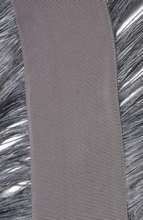 Ремень из смеси вискозы и хлопка с перьевой отделкой sara roka серый | Фото №1