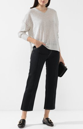Укороченные джинсы с контрастной прострочкой Isabel Marant черные   Фото №1