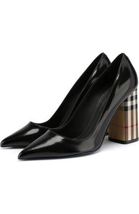 Лаковые туфли на устойчивом каблуке Burberry черные   Фото №1