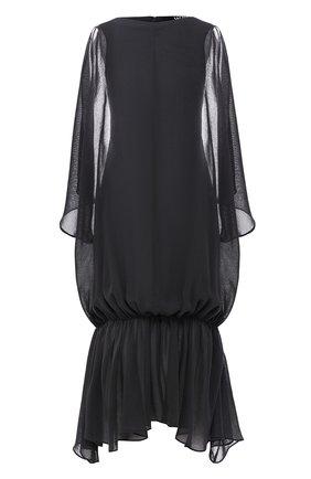 Однотонное платье-миди с оборками Jacquemus черное   Фото №1