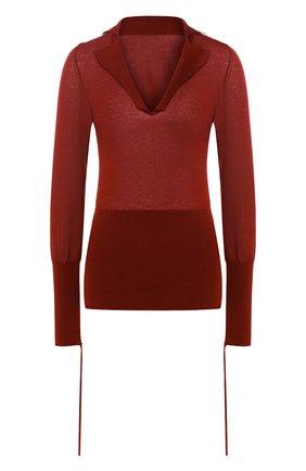 Хлопковый пуловер с V-образным вырезом Jacquemus красный   Фото №1