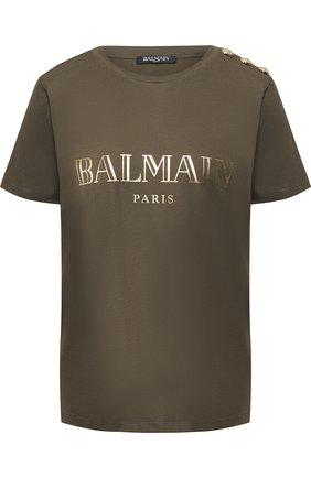 Хлопковая футболка с логотипом бренда Balmain хаки   Фото №1
