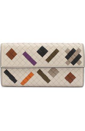 Кожаный кошелек с плетением intrecciato Bottega Veneta серого цвета | Фото №1