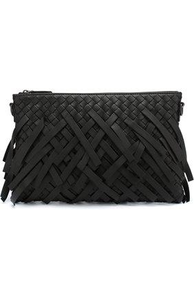 Кожаный клатч с плетением intrecciato на цепочке | Фото №1