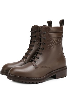Кожаные ботинки с плетением intrecciato Bottega Veneta коричневые | Фото №1