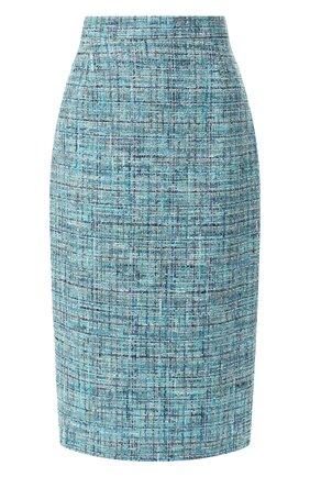 Вязаная юбка с металлизированной нитью Escada голубая   Фото №1