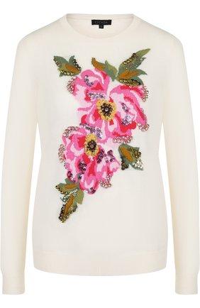 Пуловер из смеси шерсти и кашемира Escada белый   Фото №1
