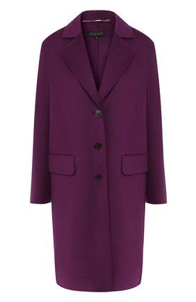 Однотонное пальто из смеси шерсти и кашемира Escada фиолетового цвета   Фото №1
