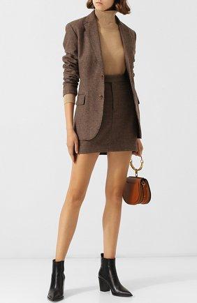 Шерстяная мини-юбка с принтом Polo Ralph Lauren коричневая | Фото №1