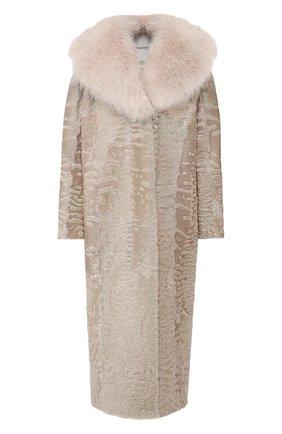 Женское меховое пальто прямого кроя VALENTINO розового цвета, арт. QF2FA5134LF   Фото 1