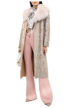 Женское меховое пальто прямого кроя VALENTINO розового цвета, арт. QF2FA5134LF   Фото 2