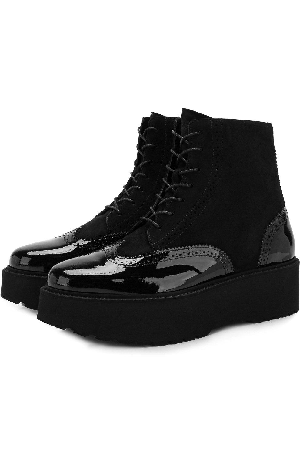 Лаковые ботинки на массивной подошве | Фото №1